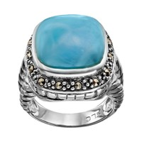 Tori Hill Larimar & Marcasite Sterling Silver Ring (Grey)