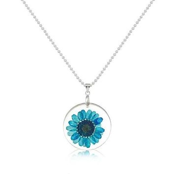 Real Dried Blue Flower Round Resin Silver Tone Necklace