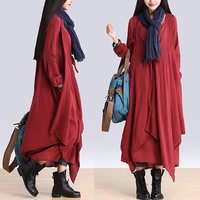 Women linen dress maxi dress cottondress/Loose dress/Long Sleeve dress autumn clothing plus size dress