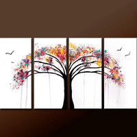4pc Abstract Canvas Art Painting 72x36 Contemporary Original Modern Landscape Art by Destiny Womack  - dWo - Tree of Life