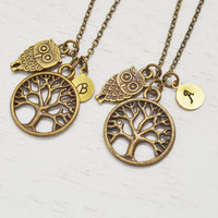 owl necklace,family tree of life necklacec,graduation gift,personalized best friend necklace set,keepsake,christmas,baby owl,sister gift