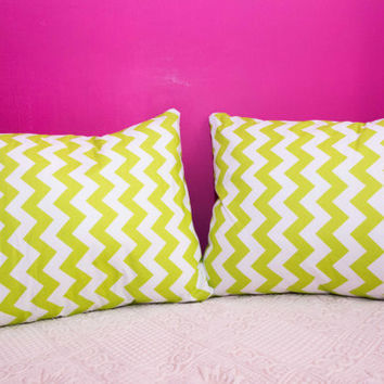 Lime Pillow Chevron.20x20 inch.Decorator Pillow Covers.Printed Fabric Front and Back.Housewares.Home Decor.Cushions.cm