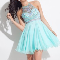 Rachel Allan 4013 Beaded Chiffon A-Line Short Dress
