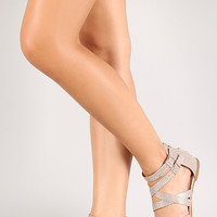 Bamboo Cope-45 Lizard Strappy Buckle Flat Sandal