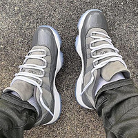 Bunchsun Air Jordan 11 Classic Men Casual Sneakers Sport Basketball Shoes Grey