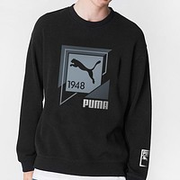 PUMA New fashion letter print long sleeve top sweater Black