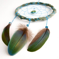 Small Dream Catcher - Exotic Green - With Blue-Green Tropical Parrot Feathers and Green Gemstone Star Pendant - Home Decor, Nursery Mobile