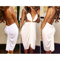FASHION BACKLESS DEEP V DRESS