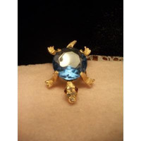 Blue Faceted Rhinestone Jelly Belly Turtle Brooch Pin