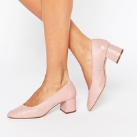 Faith Cassidy Nude Leather Mid Heeled Shoes at asos.com