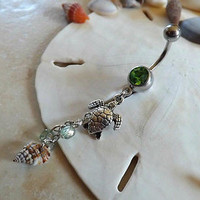 Turtle Belly Ring on Green Rhinestone Belly Ring Body Jewelry 14ga