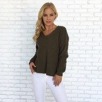Darby Knit Sweater Top in Olive