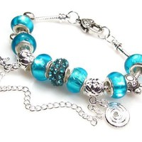 Aqua Blue Murano Bead Crystal Charm Bracelet; Pandora-compatible Snake Chain Opens so Beads Can Be Changed
