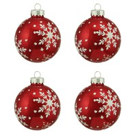 Alpine Chic Snowflake Design Glass Ball Christmas Ornament