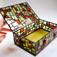 Stained Glass Jewellery Box. Beautiful unique handmade ...  Green, yellow, brown Glass. Gift for her. Home Decor. Anniversary, Wedding Gift.
