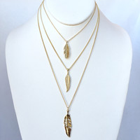 Festive Feather Layered Necklace Set