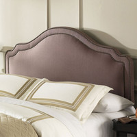Full / Queen size Upholstered Headboard with Nail-head Trim in Brown Sugar