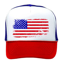 AMERICAN FLAG - 4th of july usa america patriotic Mesh Trucker Cap Hat, R-W-B