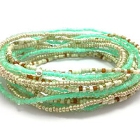 3 Stretch seed bead wrap bracelets, stacking, beaded, boho anklet, bohemian, stretchy stackable multi strand, mint green, gold, white, brown