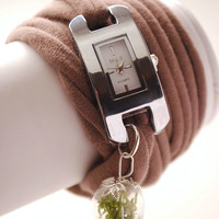 TAUPE Wrap WATCH Bracelet with real Green Moss Stretch Wrist Watch Fashion accessory Women Teens Wrist Tattoo Cover