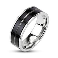 7mm Stripe Black IP 316L Stainless Steel Ring Men's Wedding Band