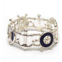 """""""Anchor Away"""" Silver/Navy Boat Accessories Stretch Bracelet"""