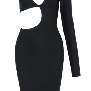 'Milla' One Shoulder Bandage Dress - Black
