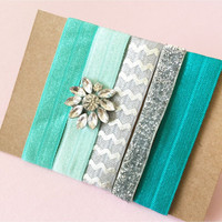 Bling Jeweled Embellished Hair Ties Set of 5 in Teal, Turquoise, Mint, Silver and Grey Chevron and Silver Glitter