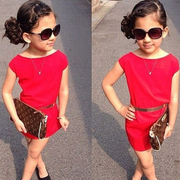 Kids Girl Summer Party Dress Pure Cotton Red Party Dress With Belt Fashion Short Sleeve Evening Wear Clothing = 1958302916