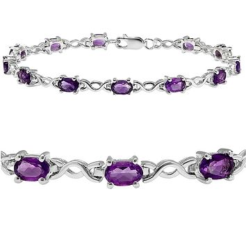 5cttw. Amethyst Infinity Tennis Bracelet set in Sterling Silver ( 7 1/4 inches)