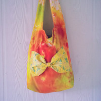 Tie dye Purse / Hippie tote bag / Floral Bow / Giant bow / Handbag / Girls Purse / Girls tote bag / Tie dye / Hand dyed / Rasta Color purse