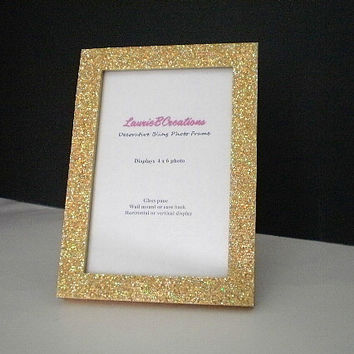 GOLD GLITTER FRAME - Sparkling Decorative Picture Frame for 4 x 6 or 5 x 7 photos or info