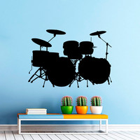 Wall Decal Music Drum Set Drums Musical Instrument Rock Band Drummer Rock Group Wall Decal Rehearsal Room Bedroom Garage Home Decor 3915