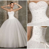 STOCK New white/ivory sweetheart Wedding Dress bridal gown Size 6-8-10-12-14-16
