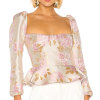 V. Chapman Georgiana Blouse in Light Pink Baroque Floral | REVOLVE