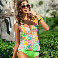 2017 Trending Fashion Floral Printed Sexy Floral Printed Triangle Steel Pallets Underwire Two-Piece Erotic Bikini Swim Suit Beach Bathing Suits Swimwear _ 13162