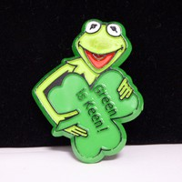 Vintage Childrens Jewelry - Kermit the Frog Pin - Plastic Green is Keen Brooch - The Muppets Signed 1980s Hensons Associates - St Patricks