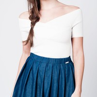 White knitted crop top with crossed neckline