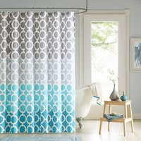 90° by Design Lab Nala 14-pc. Fabric Shower Curtain & Hook Set (Blue)