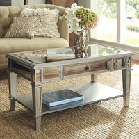 Hayworth Mirrored Coffee Table - Silver
