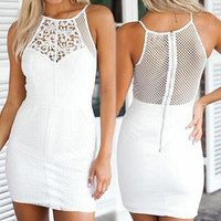 White Lace Panel Zippered Mini Dress