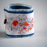 Denim and 70's Floral Pattern Cuff - Upcycle