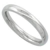 Surgical Steel Plain Wedding Band Thumb Ring / Toe Ring 3mm Domed Comfort-Fit High Polish, size 6.5