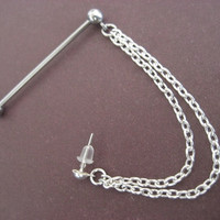 Industrial Cuff And Chain Barbell Piercing 14g 14 Gauge G Ear Bar Jewelry
