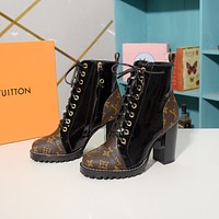 lv louis vuitton trending womens black leather side zip lace up ankle boots shoes high boots 35