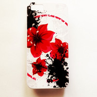 iPhone 5 Case Cover Flowers iPhone 5s Hard case Romantic Back Cover For iPhone Black Red Floral Slim Lightweight iPhone Case