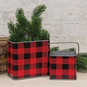 2/Set Red & Black Buffalo Check Canisters w/Handles