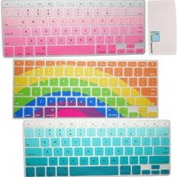 """Llamamia Set of 3 Rainbow Gradient Blue Purple Pattern Silicone Keyboard Covers Skins Protectors for Macbook Pro 13"""" 15"""" 17"""" (with or w/out Retina Display) Macbook Air 13"""" iMac Wireless Keyboard"""