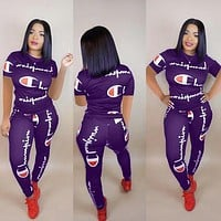 Champion Summer Popular Women Casual Print Top Pants Trousers Set Two-Piece Sportswear Purple
