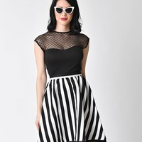 Steady Retro Black Hearts Only Mesh Knit Top